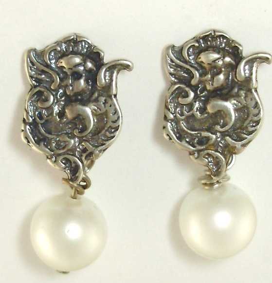 French Antique Style SILVER ANGEL Engraved Pierced EARRINGS Luster Shell Pearls-e-angp