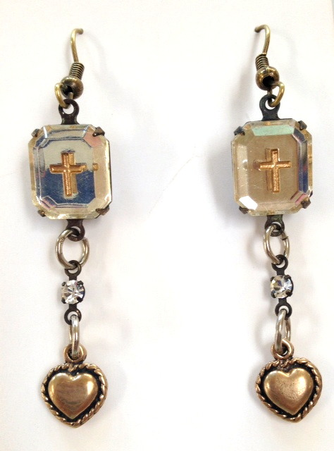 Vintage FRENCH Mirror CROSS with Bronze HEART or BIRD Rhinestone Pierced Dangle EARRINGS-e-crsvnt