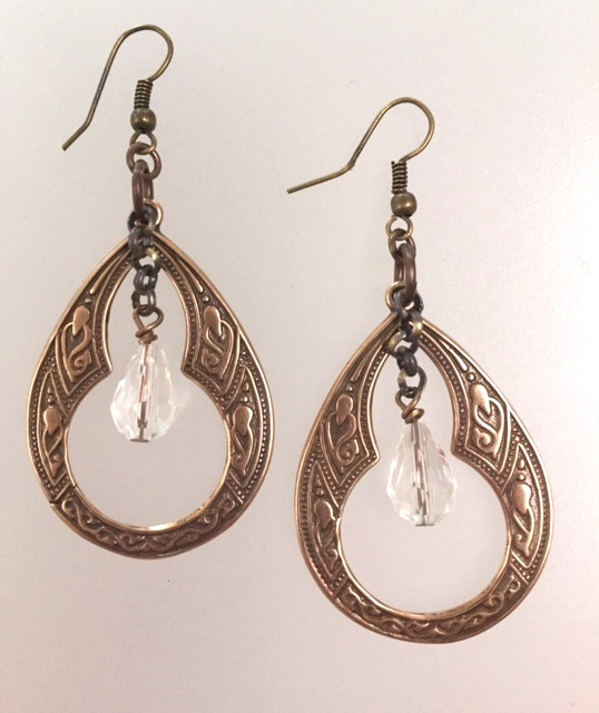 French Art Deco Etched BRONZEGypsy Pierced EARRINGS Crystal Drop-e-deco
