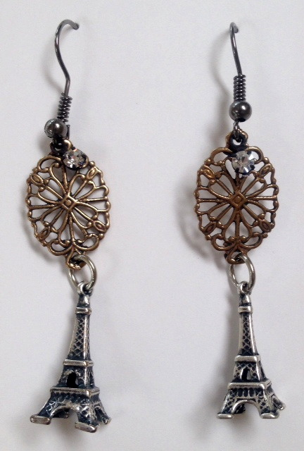 FRENCH Silver EIFFEL TOWER Earrings PARIS Bronze Filigree-e-etff
