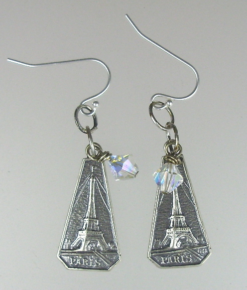 FRENCH Sterling Silverplated  EIFFEL TOWER Charm Pierced Earrings PARIS 925 Swarovski Crystals-e-etob