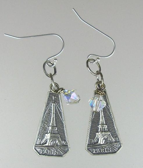 FRENCH Sterling Silverplated  EIFFEL TOWER Charm Pierced Earrings PARIS 925 Swarovski Crystals-e-etob