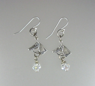 FRENCH Antique Style STERLING Silver  925 HORSE HEAD Pierced Dangle EARRINGS Swarovski Crystals-e-hdhors