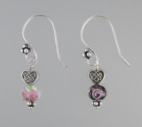Celtic HEART Glass Pink ROSE Bead Pierced Dangle EARRINGS -e-hrtrs