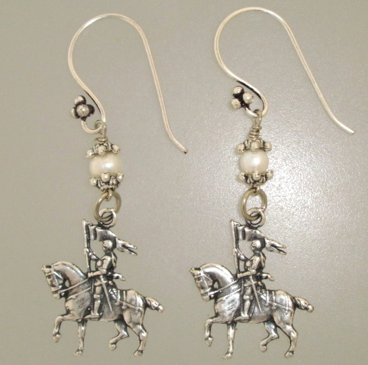 French SILVER Saint JOAN of ARC Pierced EARRINGS Swarovski Crystals-e-ja
