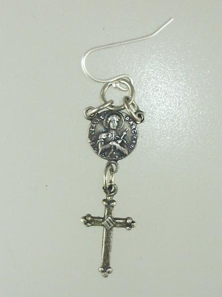 French SILVER Saint JOAN  of ARC Pierced EARRINGS with CROSS-e-jacrs