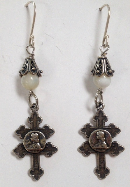 French STERLING Silver Saint JOAN of ARC Pierced EARRINGS Cross of LORRAINE-e-jalorr