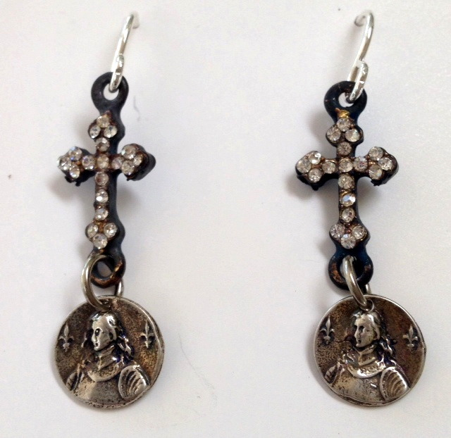 French STERLING Silver Saint JOAN of ARC Pierced EARRINGS Gothic CROSS-e-jasm
