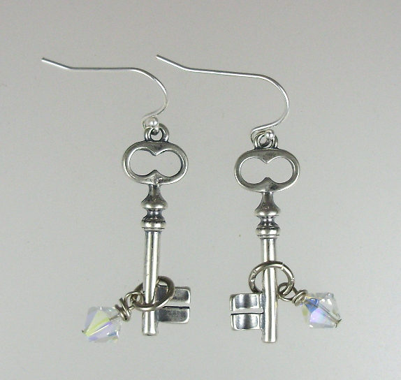 FRENCH Antique Style STERLING Silver  925 KEY Pierced Dangle EARRINGS Swarovski Crystals-e-keysm