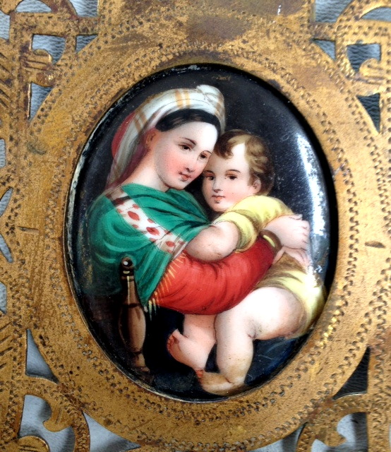 FRENCH Religious Antique MADONNA Child Porcelain PAINTED Reliquary Brass GOTHIC Frame Easel-e-mary