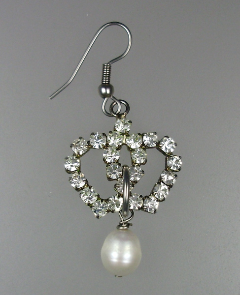 French Antique Style CROWN Rhinestone Pierced EARRINGS Pearl Drops-e-rcrn