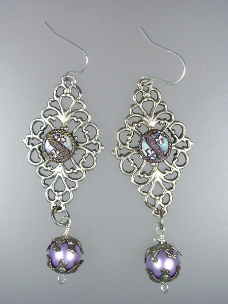 FRENCH Long Antique MOTHER of PEARL STERLING Silver Filigree  Pierced Dangle EARRINGS Violet Pearls-e-smop