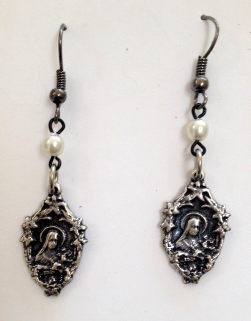 French Antique Style Silver ST SAINT TERESA Pierced EARRINGS -e-sttr