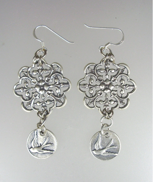 Antique Style STERLING Silver Pierced EARRINGS Filigree SWALLOW Bird-e-sw