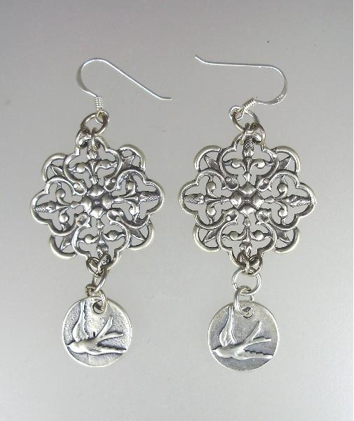 Antique Style STERLING Silver Pierced EARRINGS Filigree SWALLOW Bird-e-sw