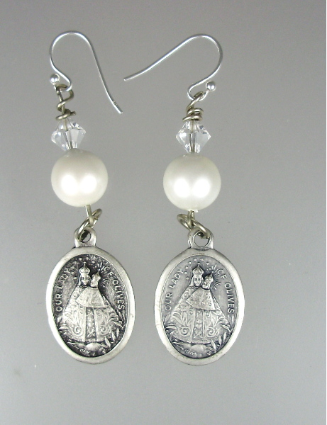 Vintage ITALIAN Silver SAINTS MEDALS Earrings with Clear SWAROVSKI Crystals White Luster PEARLS STERLING SILVER Wires-e-wpst