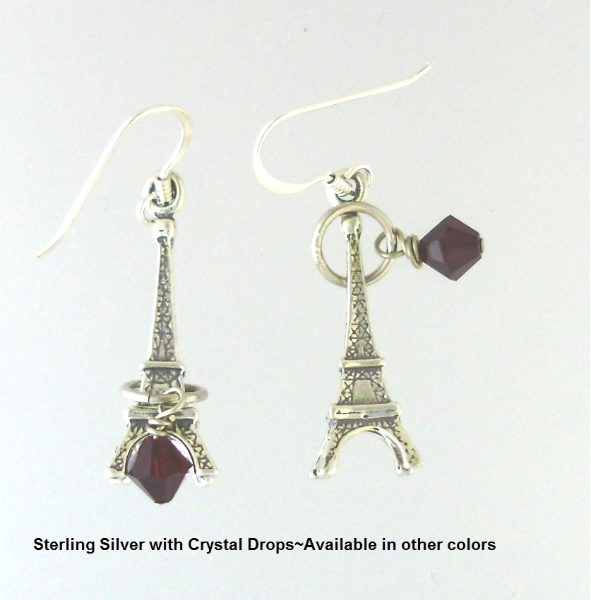 FRENCH Sterling Silver EIFFEL TOWER Earrings PARIS 925 Red Swarovski Crystals-earetred