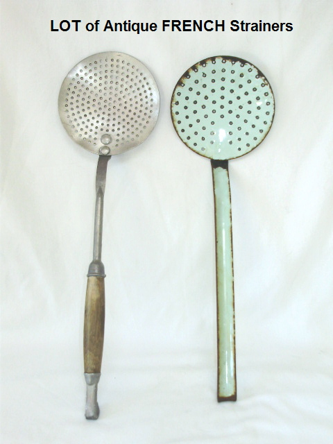 FRENCH Vintage LOT of ENAMEL STRAINER Metal Wood Handle-enamstr
