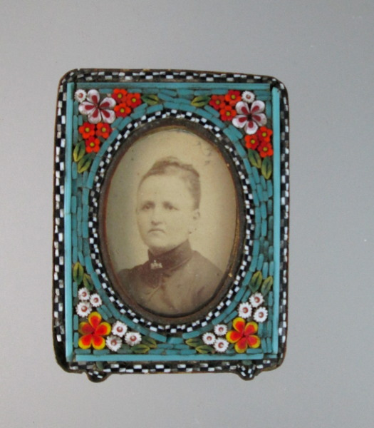 Antique ITALIAN Micro Mosaic Photo FRAME with Woman Easel-f-moz