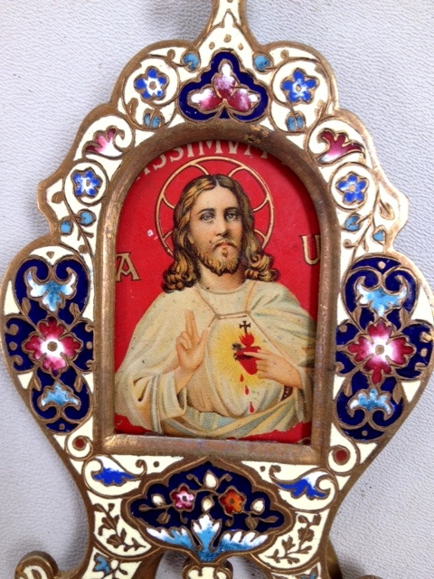 FRENCH Antique Metal JESUS of Sacred HEART Easel FRAME w Cross CHAMPLEVE Enamel-f-jeschmp