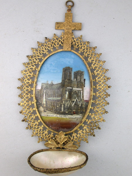 Antique FRENCH REIMS Cathedral Hand Reverse PAINTED Holy Water Font Mother of Pearl SHELL-f-reim