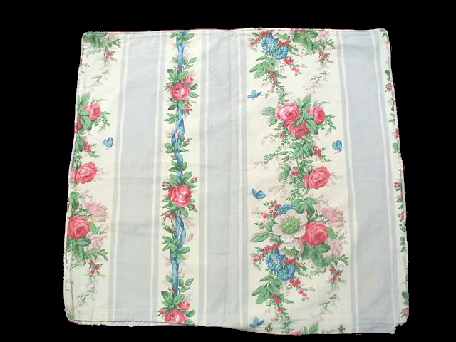 2 AVAIL FRENCH 1920s Fabric SHAM Blue STRIPE Pink Roses-fabstrpsham