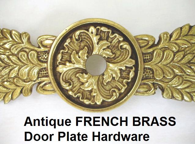 FRENCH Antique Vintage Brass Bronze DOOR PLATE Back of BRASS Ornate-frndoor