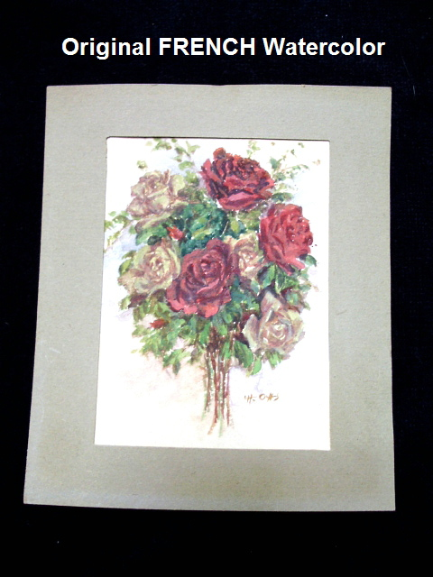 Original WATERCOLOR Painting of ROSES Signed by Artist-frnwateru