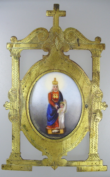 FRENCH Religious Antique VIRGIN MARY Jesus Porcelain PAINTED Reliquary Brass GOTHIC Frame CROSS-haus