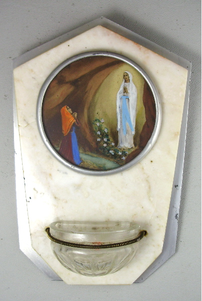 FRENCH Antique Old Vintage Religious LOURDES Holy Water FONT Wall Plaque VIRGIN MARY St Bernadette-hwptg