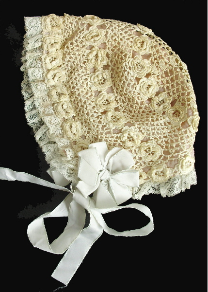 Late 1800s FRENCH Antique Vintage Irish CROCHET BABY DOLL BONNET-icbon