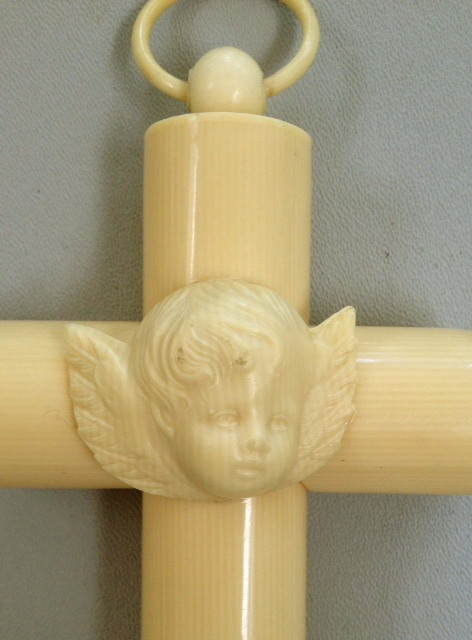 Antique FRENCH IVORY Cross with Winged ANGEL Cherub-ivang
