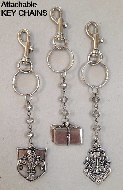 KEY CHAIN with FRENCH Silver SUITCASE Luggage Charm PARIS Rue De RIVOLI Crystal Beads-k-riv