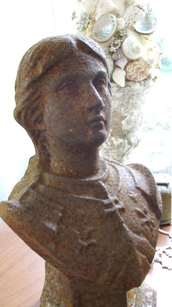 Antique FRENCH  CAST Iron JOAN of ARC STATUE-jairon