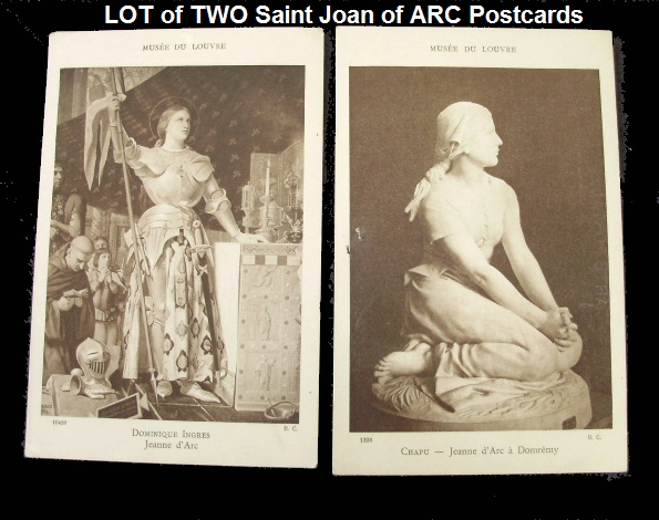 LOT 2 FRENCH Antique Holy Saint ST JOAN of ARC Postcard-jalotcard