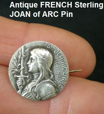 FRENCH Silver JOAN ARC PIN Antique FLEUR de LIS Signed-jaobc