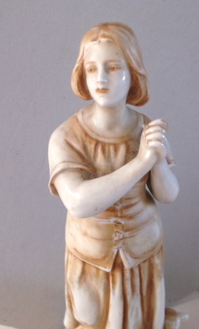 Antique FRENCH Saint JOAN of ARC Porcelain Bisque STATUE-japor