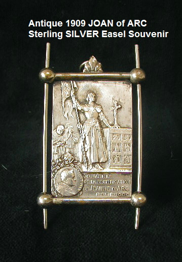 Rare FRENCH Antique Silver Holy St JOAN of ARC Standing Easel Frame Plaque-jasilveasl