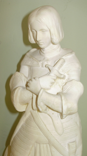 Vintage Antique FRENCH  Saint JOAN of ARC Bisque STATUE-jastatw