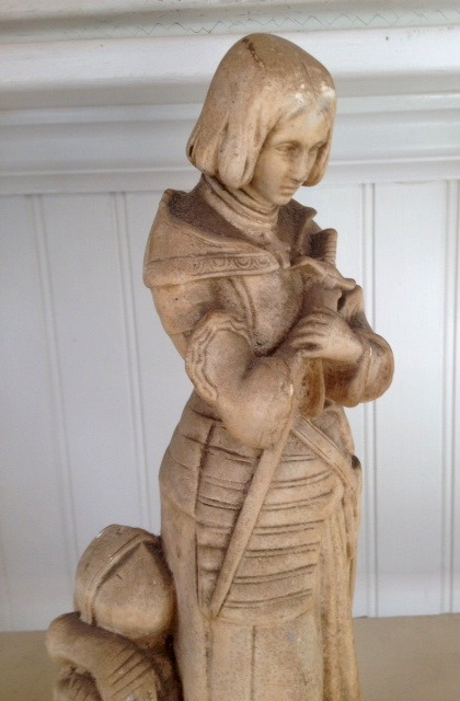 Vintage Antique FRENCH  Saint JOAN of ARC Chalk STATUE-jstatx