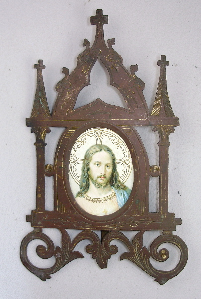 Antique Brass Gilt FRENCH JESUS CHRIST GOTHIC Religious Shrine Plaque Old-jesplqq