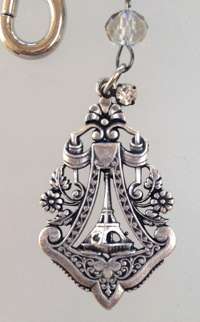 KEY CHAIN with FRENCH Silver EIFFEL TOWER Tag ROSES Charm Crystal Beads-k-et