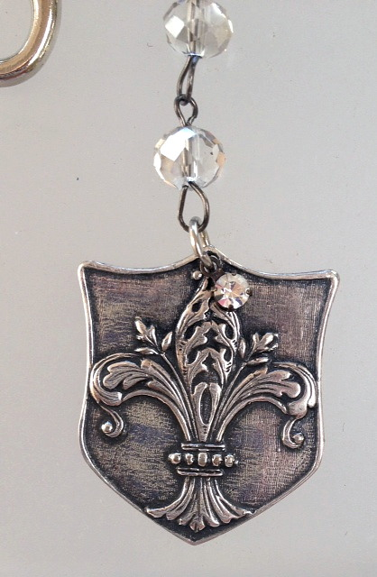 KEY CHAIN with FRENCH Silver Watch Fob Tag FLEUR de LIS Crown ROSES Acanthus Charm Crystal Beads-k-fob