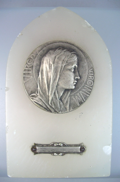 FRENCH Antique VIRGIN MARY Religious LOURDES Reliquary Easel Plaque White Alabaster MARBLE-l-mar