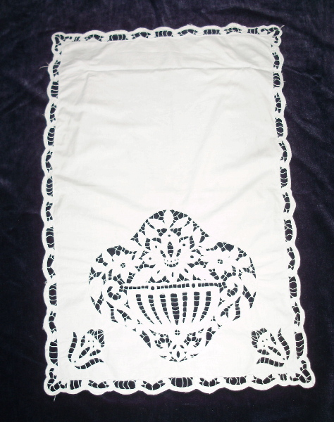 Antique FRENCH White  LINEN HAND Embroidered Floral URN Curtain Panel-l-urn