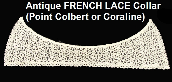 French Antique Fine VICTORIAN Swiss Schiffli LACE Collar ROSES-lacecollar