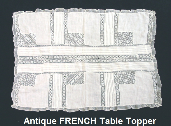 FRENCH Antique Vintage Bobbin LACE Table Runner Dresser-lacesq