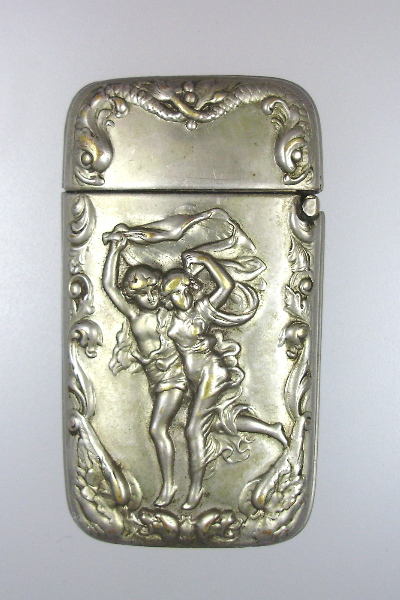 FRENCH Antique Art Nouveau Style Repousse Souvenir MATCH SAFE Chinois Cocktail Frappe-lite
