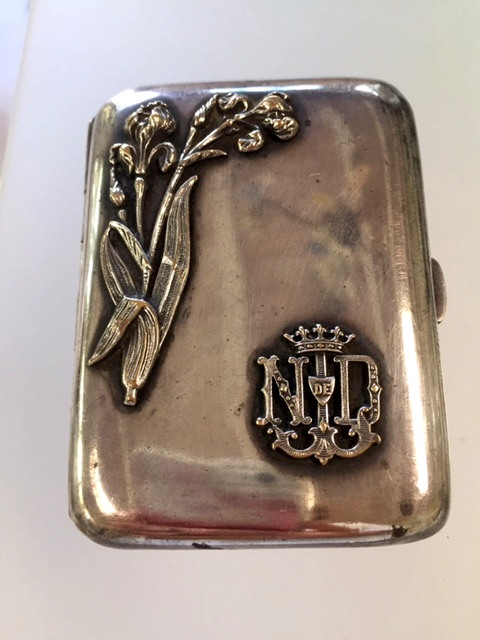 ANTIQUE French Repousse Silver Notre Dame LOURDES Card Cigarette Case IRIS Flowers-loucig