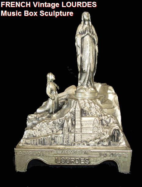 OLD FRENCH Antique Vintage LOURDES St Bernadette Virgin Mary STATUE Music Box-loumus